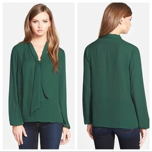 Anthro Bailey 44 Front Tie Blouse Hunter Green S